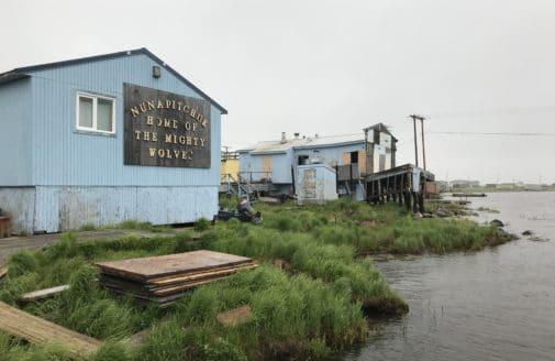 Alaska village on the edge of rising waterline