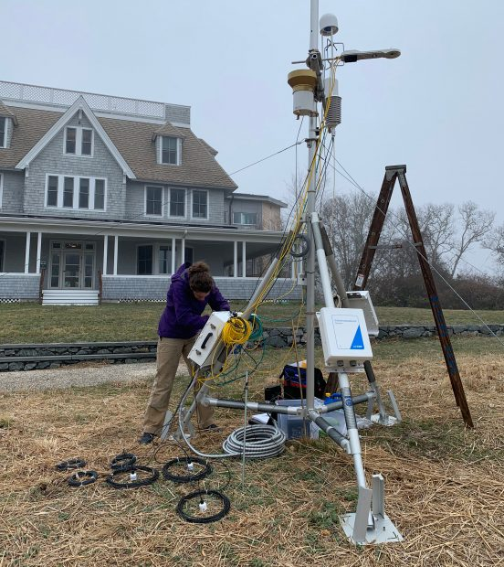 Testing of the flux tower at the Woodwell campus before deployment in Alaska.