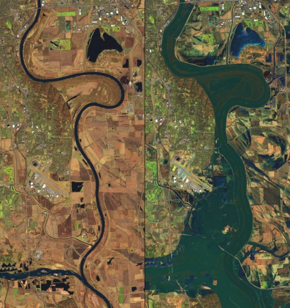 NASA photo images of flooding in Nebraska.