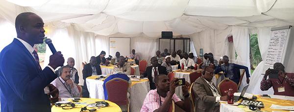 Joseph Zambo presenting at Global Soil Week in Kenya.