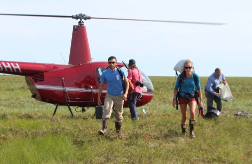 Polaris Project student researchers arriving back at base camp after a day in the field.