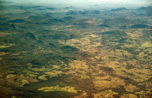 Aerial view of Amazon deforestation.