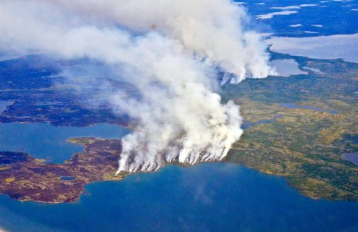 Aerial view of fires burning in Northwest Territories, Canada in 2014.