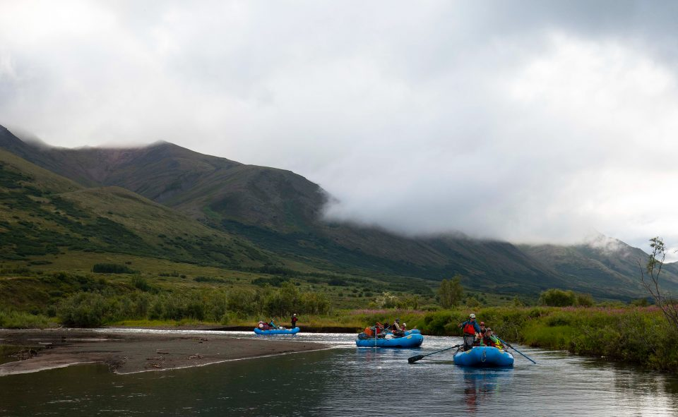 Scientists and volunteers on the Kwethluk River, Alaska.