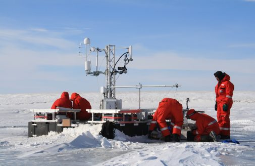 Scientists set up flux tower, 2014, Lena River Delta, Siberia