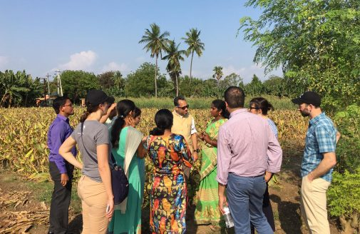 An Indian farmer gives a tour of her property.