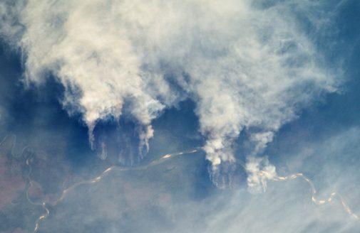 Slash and burn forest clearing along Rio Xingu in Matto Grasso, Brazil