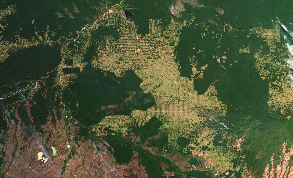 Satellite photo of Amazon deforestation