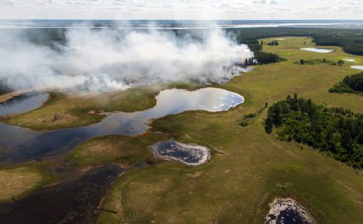 A fire in the Yakutia region of Siberia in early June