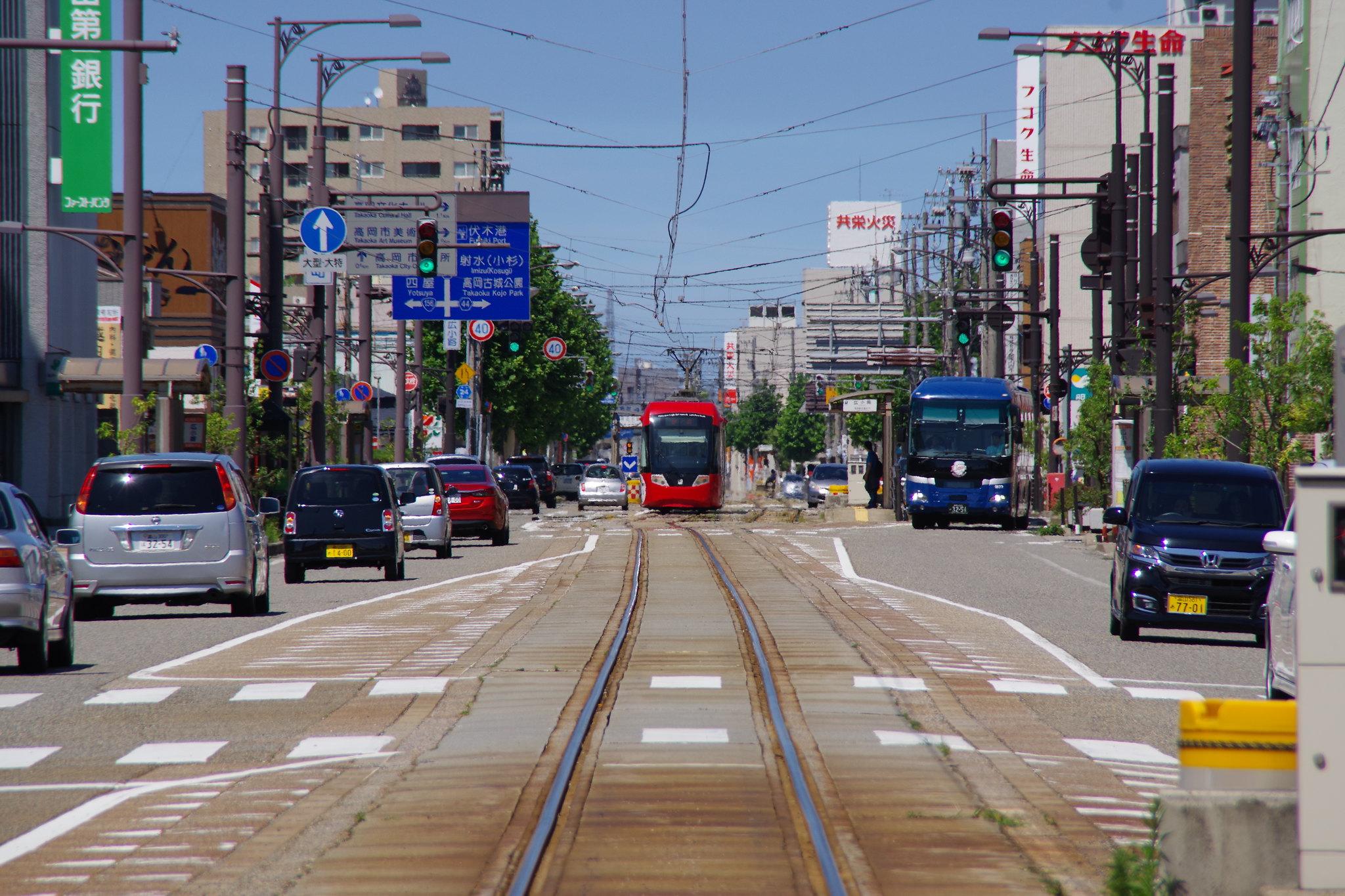 Takaoka City, Japan street in summer heat.