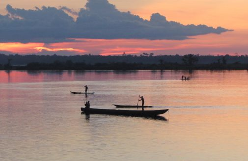 The Congo River flows through the rainforest near Mbandaka, home of Woodwell's Project Équateur.