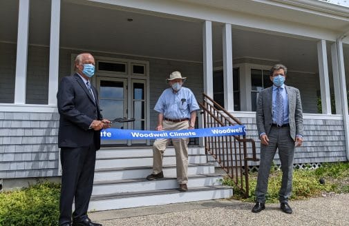 George Woodwell about to cut the ribbon for the launch of Woodwell Climate Research Center.