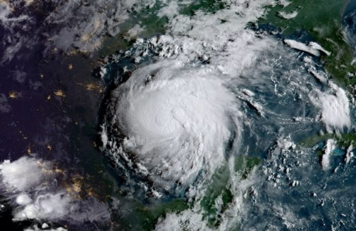 Hurricane Harvey, which stalled dangerously over Texas, on August 24, 2017. Photo courtesy of NOAA and NASA GOES Project