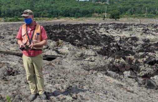 Former cranberry bog undergoing restoration work.