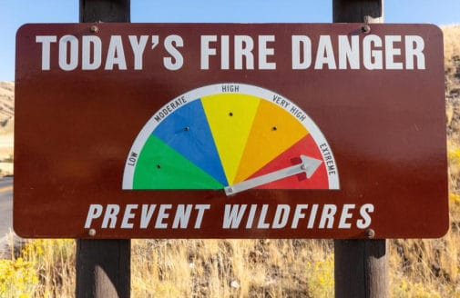 Fire danger level sign pointed to extreme.