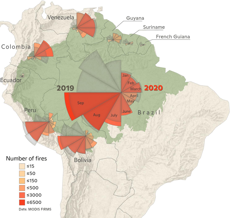 graph of 2020 Amazon fires through September