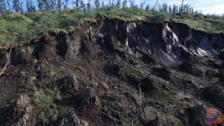 exposed thawing permafrost