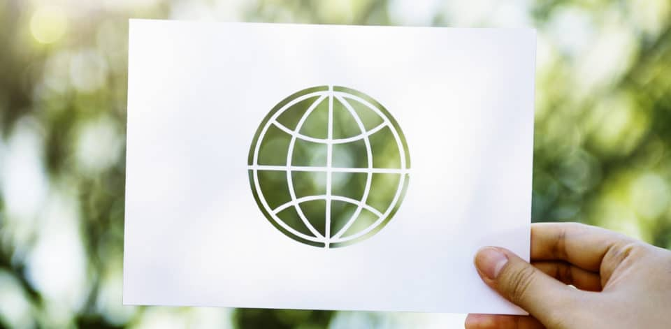 paper with globe outline cutout with trees behind