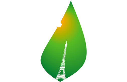 COP 21 icon of Eiffel Tower on a leaf