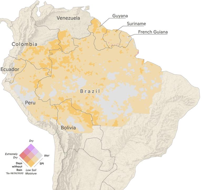 2020 Amazon rainfall map through September