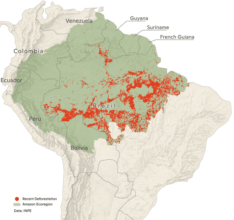 2020 Amazon map of recent deforestation