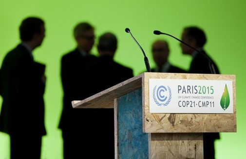 COP21 lectern. Photo by WeMeanBusiness on Flickr