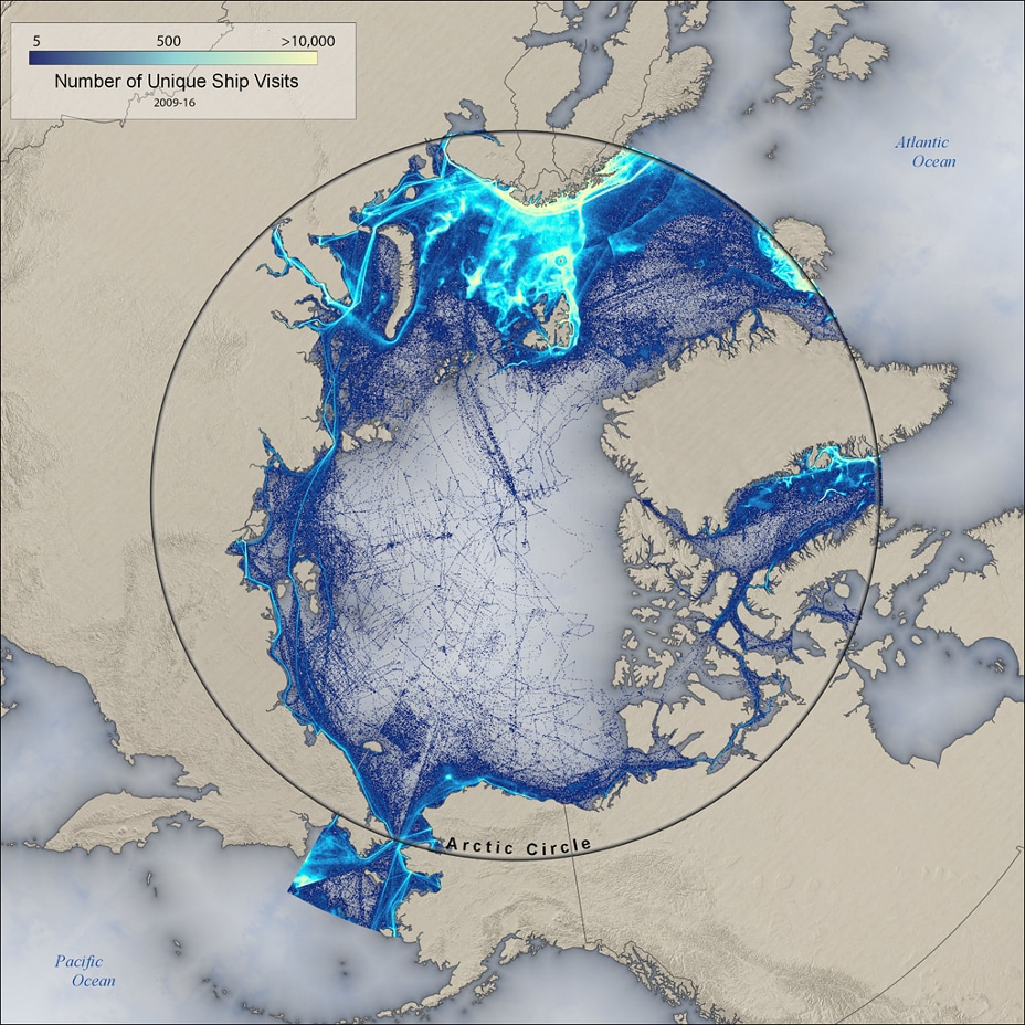 Map showing paths of unique Arctic ship paths from 2009-2016.