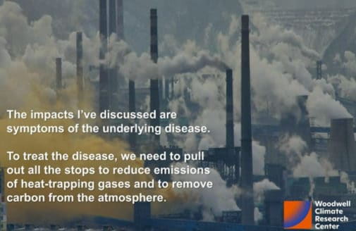 Slide presented during testimony empasizing the need to reduce emissions.