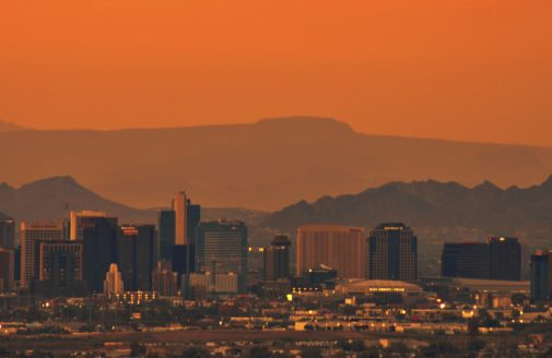Phoenix smog at sunset