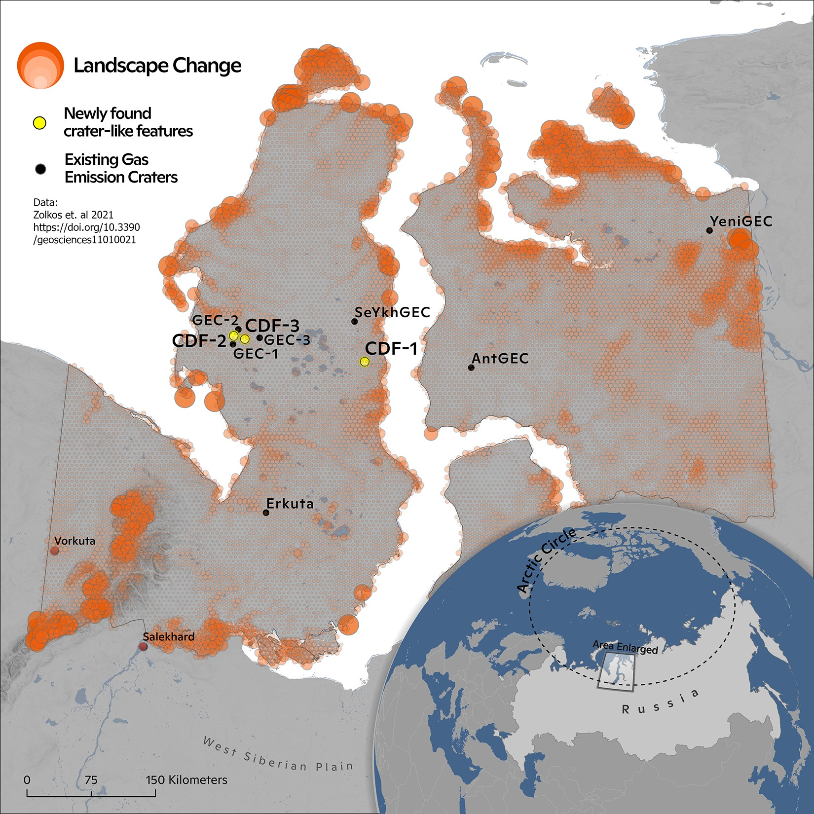 Map showing the extent of landscape changes and location of gas emission craters found.