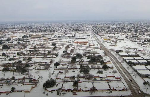 Drone video of snow in Midland, TX