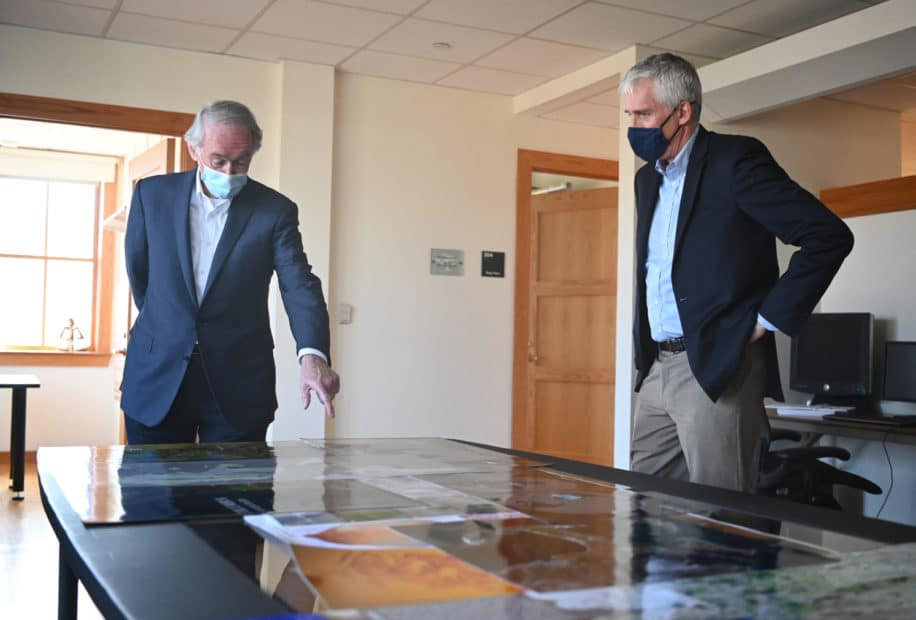 Ed Markey and Max Holmes looking at maps
