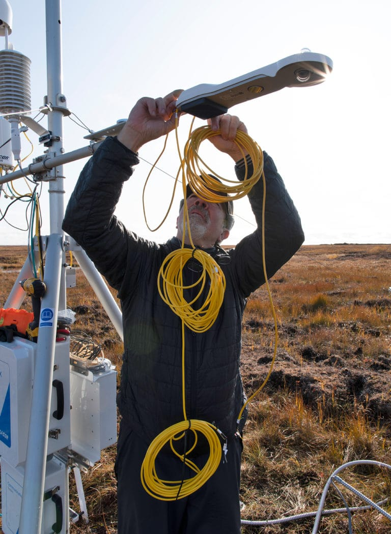 stringing cables on the flux tower