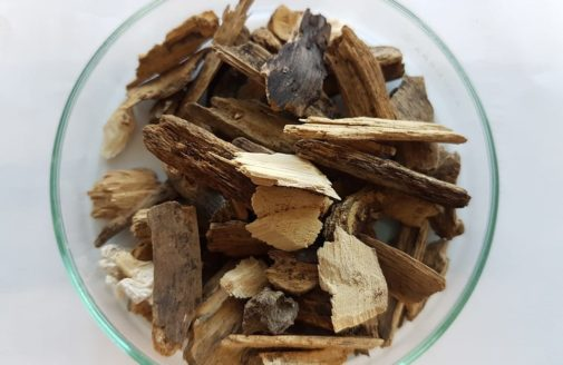 woodchips in a glass bowl