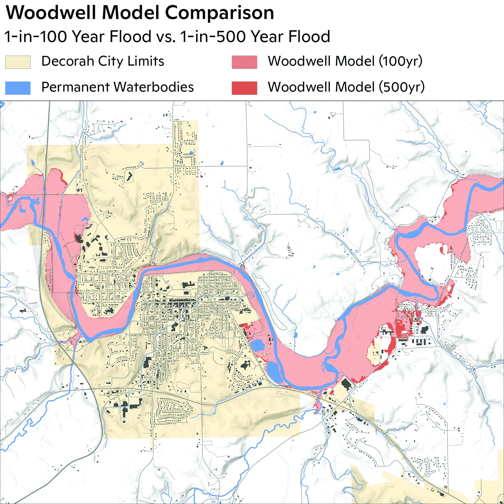 Above: Projected flood risk for Decorah, Iowa. / map by Carl Churchill