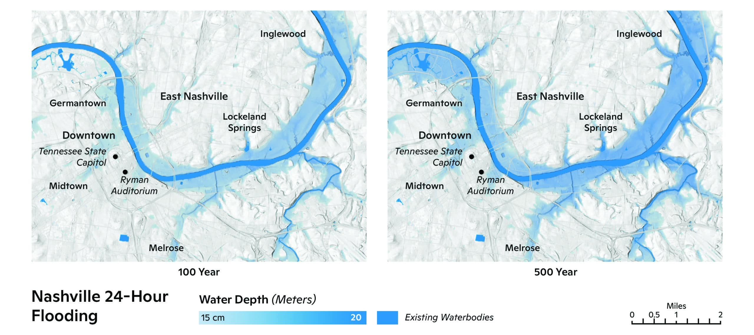 Projected inundation of Nashville, TN resulting from 100- and 500-year storms. / maps by Carl Churchill