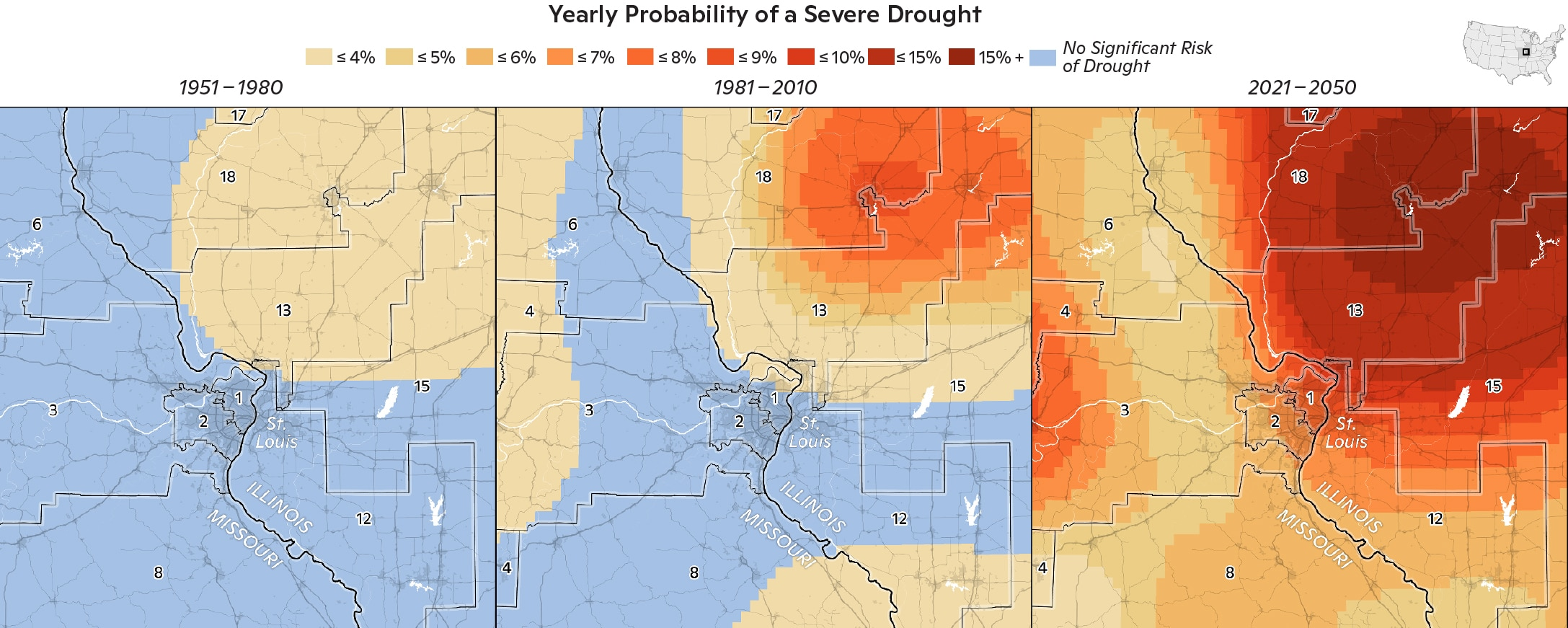 Annual likelihood of extreme drought in the past, present and projected future for the St. Louis, Missouri region. / maps by Carl Churchill