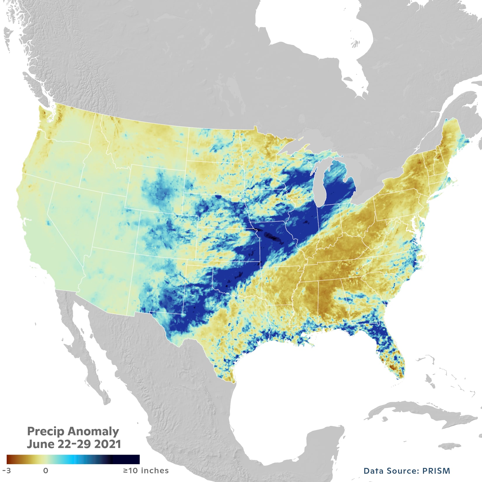 precipitation anomalies across us during mid June