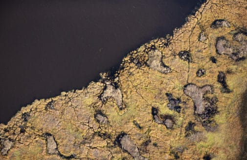 Alaskan tundra and lake aerial view