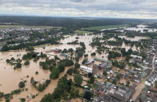 Flooding in Bliesheim, Rhein-Erft-District in Nordrhein-Westfalen, Germany, July 2021. Photo: Stadt Erftstadt