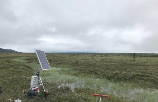 Flux tower at Alaska's Eight Mile Lake. Photo by Dr. Jennifer Watts