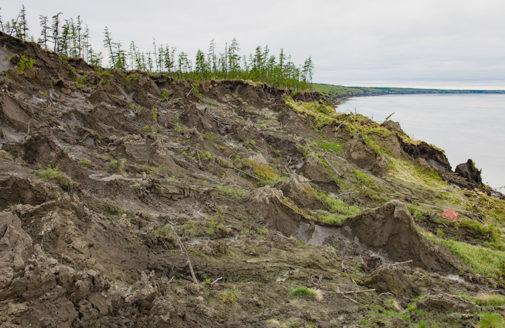 Slumping Arctic coastline.
